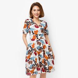 Đầm xòe hoa mùa thu - MS0500D giá sỉ