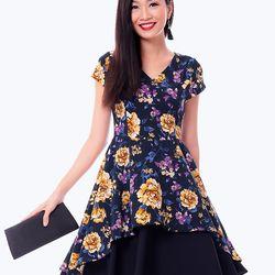 Đầm hoa 2 tà vạt xéo – MS0461D giá sỉ