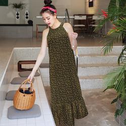 Đầm maxi cổ yếm hoa nhí - MS0539D giá sỉ