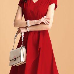 Đầm xòe cổ chéo kèm phụ kiện – MS0508D giá sỉ