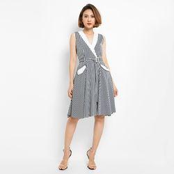 Đầm xòe sọc cổ phối kèm nịt - MS0514D giá sỉ