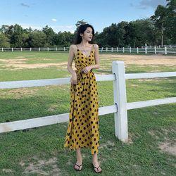ĐẦM MAXI VÀNG CHẤM BI 2 DÂY - DT1216- váy hè giá sỉ