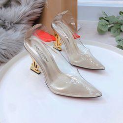 Giày cao gót trong gót vàng 2 màu giá sỉ