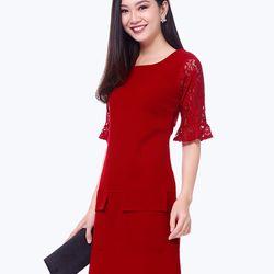 Đầm suôn tay phối ren – MS0422D giá sỉ