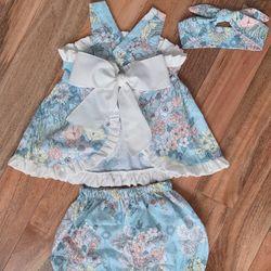 Đầm Bé gái sét rời 3 chi tiết hoa 3D xanh giá sỉ