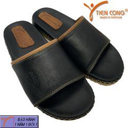 Dép Nam Quai Ngang Da Bò Tiến Công Doctor Bền Đẹp Màu Đen - TCF1034 giá sỉ