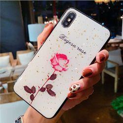 Ốp Iphone Nụ Hồng Mong Manh lưng bóng nhũ vàng ( Ốp cứng 4 viền đen dẻo ) giá sỉ