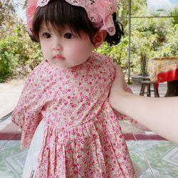Đầm bé gái hoa nhí Hồng bèo chân váy trắng giá sỉ