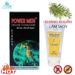 Bao cao su Powermen Cá ngựa hộp 12 cái và GEL rửa tay khô kháng khuẩn MELAVIE MHT 60ml TTC giá sỉ