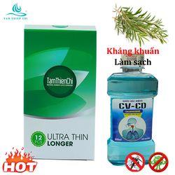 Bao cao su Tâm Thiện Chí Ultrathin Longer hộp 12 cái kèm 1 chai Nước súc miệng CV-CD chính hãng chai 200ml TTC giá sỉ