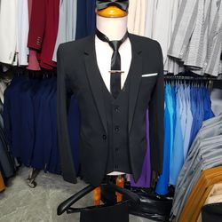 Combo bộ vest nam màu đen ôm body (áo vest+gile+quần+cà vạt+kẹp+nơ) giá sỉ