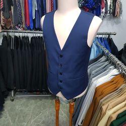Áo gile nam form ôm body màu xanh đen chất vải dày mịn co giãn + nơ xanh đen giá sỉ