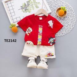 Bộ áo thun quần thô hoạt hình cá tính năng động màu đỏ giá sỉ