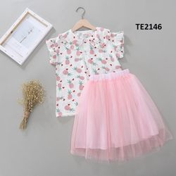 Set áo + chân váy hồng pastel nhẹ nhàng giá sỉ