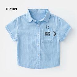 Áo sơ mi thô 100% cotton mềm mát xanh blue giá sỉ