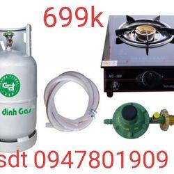 Bộ bình gas bếp gas đơn mặt kính giá sỉ