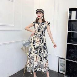 Đầm lụa hoạ tiết xinh xắn dáng dài giá sỉ