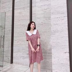 Váy bầu thiết kế dáng suông kẻ caro giá sỉ