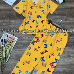 Đồ Bộ Pijama Lụa Satin Quần Dài Bướm giá sỉ