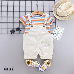 Bộ quần yếm gấu + áo thun kẻ ngang màu kem giá sỉ