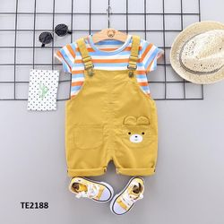 Bộ quần yếm gấu +áo thun kẻ ngang màu vàng giá sỉ