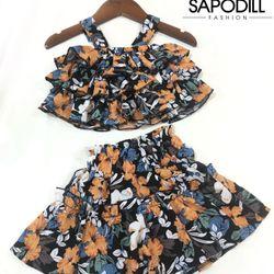 Bộ béo bé gái tầng bèo phối quần váy mã VH20-049 giá sỉ