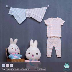 Bộ quần áo cài lệch kẻ lưới Little Love / áo cộc tay quần dài / cho bé từ 3 tháng đến 3 tuổi giá sỉ