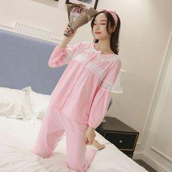 Bộ đồ ngủ dài coton dài mix ren giá sỉ