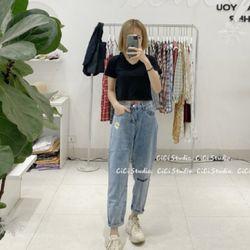Quần baggy jean nữ thêu hoa cúc thời trang chuyên sỉ 2KJean giá sỉ