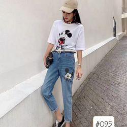 Quần baggy jean nữ in hình Mickey giá sỉ