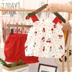 Bộ hè bé gái áo hai dây chery + quần đùi bồng màu đỏ giá sỉ