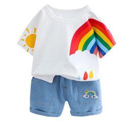 Bộ đi chơi bé trai: áo phông cầu vồng + quần sooc bò giá sỉ