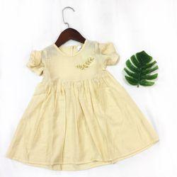 Váy hè xòe hai tay đính hoa thêu chỉ lá chỉ vàng nổi bật VH20-036 giá sỉ