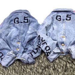 Áo khoác jean nữ thêu chữ G5 giá sỉ
