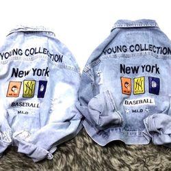 Áo khoác jean nữ thêu chữ NewYork giá sỉ