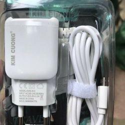 Bộ củ cáp sạc liền dây Kim Cương 813 có cổng USB và dây liền chân micro giá sỉ