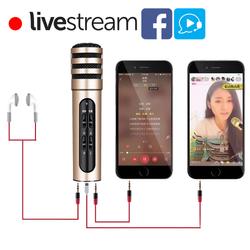 Bộ micro livestream + karaoke trên điện thoại C6 C7 đa năng kèm tai nghe giá sỉ