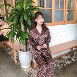 Đồ ngủ đồ pijama mặc nhà TDqd nâu chất lụa in 3D siêu đẹp giá sỉ