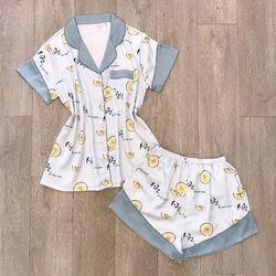 Đồ Ngủ đồ pijama đùi phối cổ Chất Lụa in nhiệt hàng VN cao cấp giá sỉ