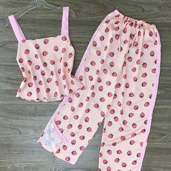 Đồ ngủ đồ pijama hai dây bản to họa tiết chất lụa in nhiệt giá sỉ