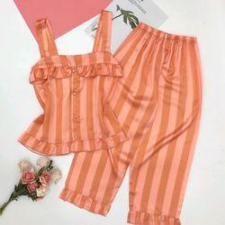 Đồ ngủ đồ pijama mặc nhà hai dây bản to bèo họa tiết lụa in nhiệt giá sỉ