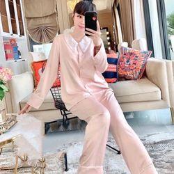 Đồ ngủ pijama tdqd ren phối cổ chất lụa in 3D hàng QC giá sỉ