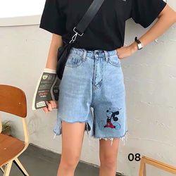 Quần ngố jean nữ rách lai in hình Mickey chuyên sỉ jean 2KJean giá sỉ