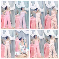 Đồ ngủ pijama hai dây quần dài bản to họa tiết chất lụa in nhiệt siêu mịn giá sỉ