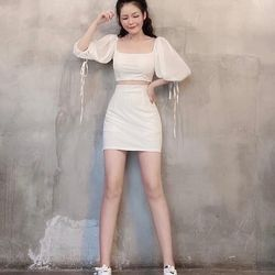 Set áo phối chân váy chữ A trắng giá sỉ