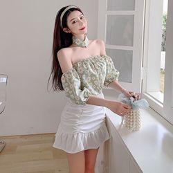 Set 3 món áo bẹt vai phối chân váy đuôi cá kèm choker giá sỉ