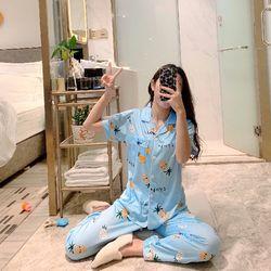 Bộ pizama quần dài tay ngắn hàng Quảng Châu giá sỉ