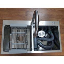 [SALE SẬP GIÁ] Chậu rửa bát inox KOREA Đúc 2 hố cân (Tặng Kệ Để Đồ Đa Năng + Bộ ống xả) giá sỉ