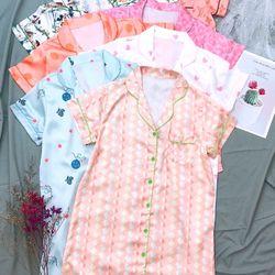 Đồ ngủ đầm ngủ pijama tay ngắn họa tiết chất lụa in nhiệt siêu mềm mại giá sỉ