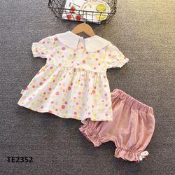 Bộ bé gái áo chấm bi cộc tay + quần chun ống hồng giá sỉ